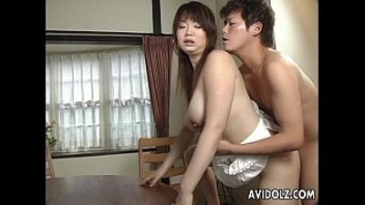 Asian busty bitch gets hairy muff filled up