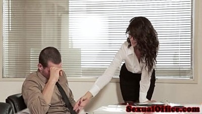 Classy office babe in glasses fucks co worker