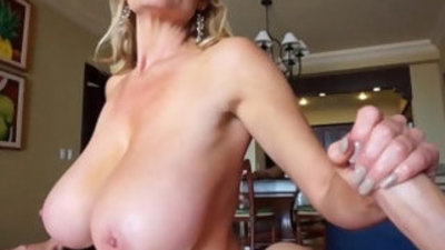 Huge titted wife kelly madison strokes and sucks cum from cock