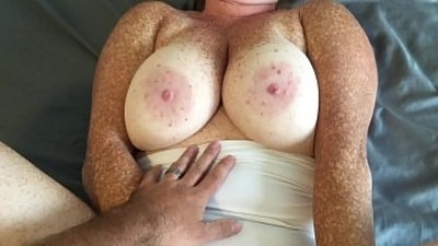 Cumshot on panties and tits after fucking redhead in white thong