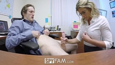 SpyFam Step son office anal fuck each other with step mom Cory Chase at work
