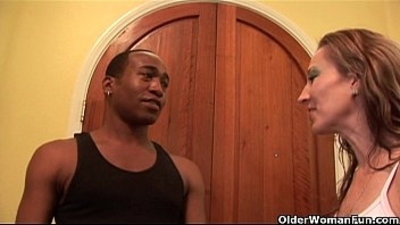 Soccer mom Darien Ross gets licked and fucked by a black mamba cock