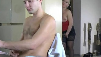 Beauty Russian pussy with her son