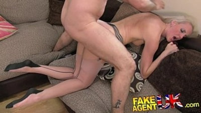 FakeAgentUK dose of blowjobs, rimming and fucking for Tall dirty blonde