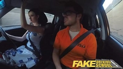 Fake Driving School Posh freaky redhead babe with tits and ginger bush fucks