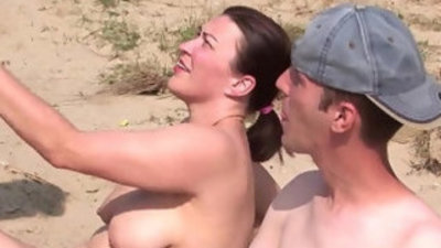 Real slut party with amateur threesome on the beach