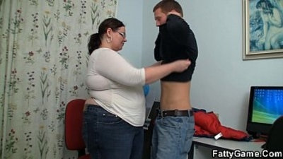 Big belly teacher fucks stud