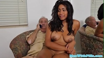 Busty black youngster cockriding grandpa